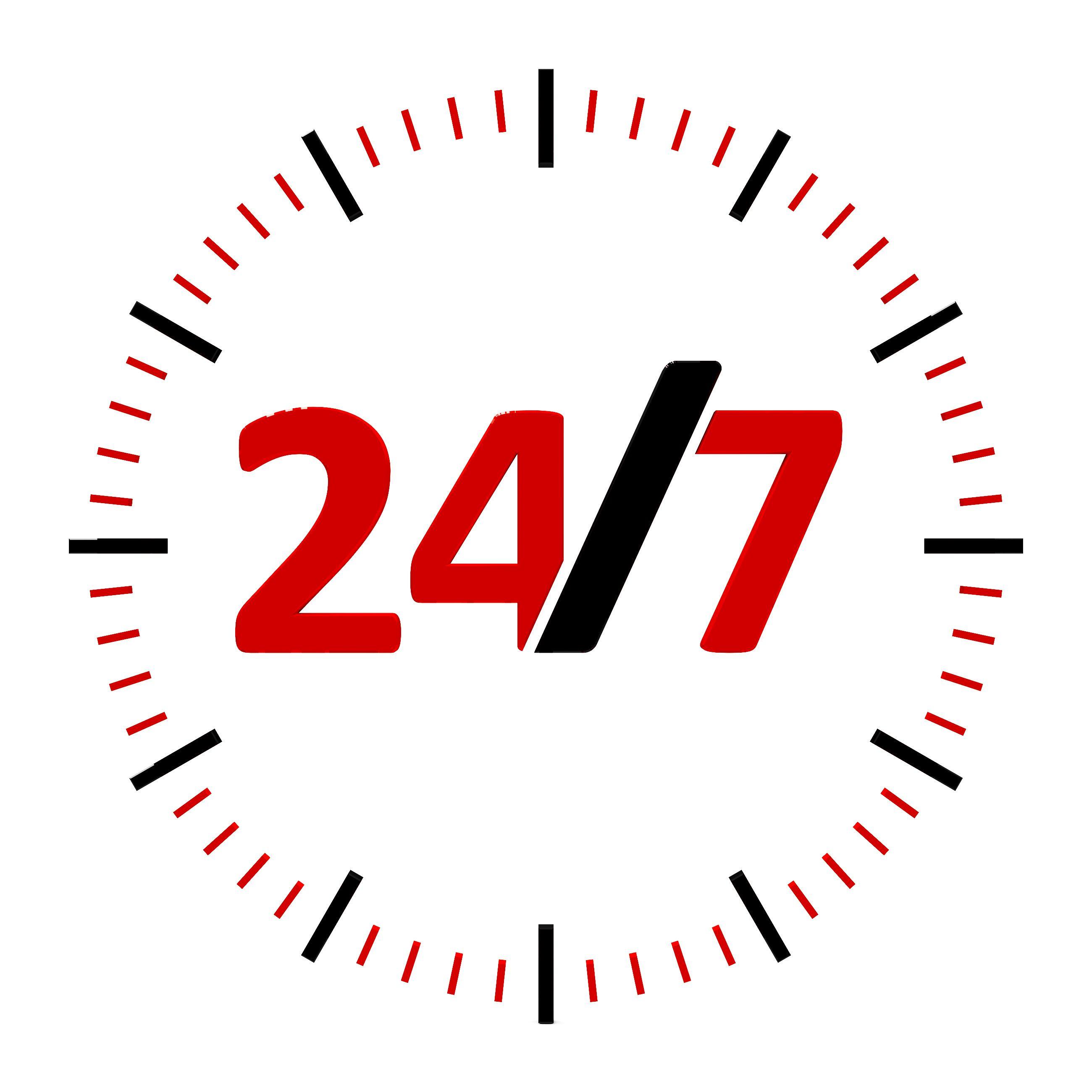 24 Stunden, 7 Tage Erreichbarkeit
